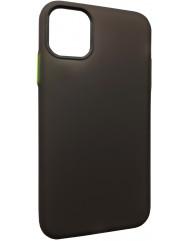 Чохол силіконовий матовий iPhone 11 (чорно-салатовий)