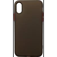Чехол силиконовый матовый iPhone XS (черно-красный)