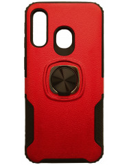 Чехол с кольцом техно кожа Samsung Galaxy A40 (красный)