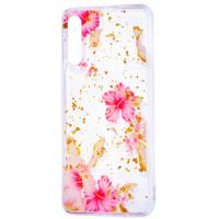 Силиконовый чехол Samsung A50 (розовые цветы)