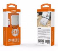 Сетевое зарядное устройства LDNIO (2,4A) 2USB+кабель (белый)