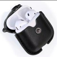 Чехол для AirPods Pro Colors с карабином кожа (черный)