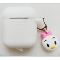Чехол для Airpods силиконовый с игрушкой (белый)
