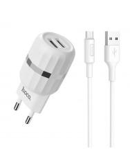 Мережевий зарядний пристрій Hoco C41A 2.4A + кабель Micro USB