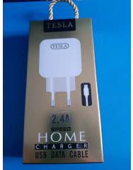 Мережевий зарядний пристрій TESLA (2,4A) (білий) + кабель