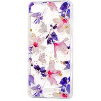 Силиконовый чехол Xiaomi Redmi 6a (фиолетовые цветы)