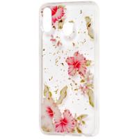 Силиконовый чехол Samsung M20 (розовые цветы)