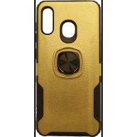 Чехол с кольцом техно кожа Samsung Galaxy A20 (золотой)
