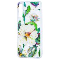 Силиконовый чехол Samsung A50 / A50s / A30s (зеленые цветы)