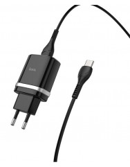 Сетевое зарядное устройство Hoco C12Q 2в1 1USB/2.4A QC3.0 (черный) + кабель Type-C