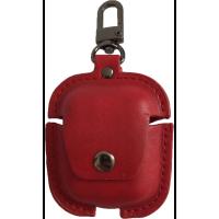 Чехол для AirPods Pro Colors с карабином кожа (красный)