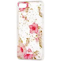Силиконовый чехол Xiaomi Redmi 6a (розовые цветы)