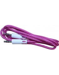 AUX кабель 3.5mm (тканина) 1м (рожевий)