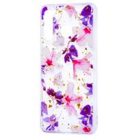 Силиконовый чехол Samsung A30 (фиолетовые цветы)
