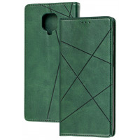 Книга Business Leather Xiaomi Redmi Note 9s/9 Pro (зеленый)