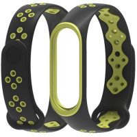 Ремешок для Xiaomi Band 3/4 Mijobs Sport (black-green)