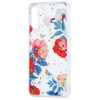 Силиконовый чехол Samsung A50 (красные цветы)