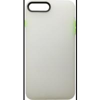 Чехол силиконовый матовый iPhone 7/8 Plus (бело-салатовый)