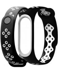 Ремінець для Xiaomi Band 3/4 Mijobs Sport (black-white)