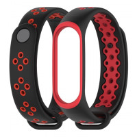 Ремешок для Xiaomi Band 3 Mijobs Sport (black-red-white)