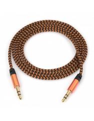 AUX кабель 3.5mm (ткань) 1.5м (золотой)
