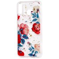 Силиконовый чехол Samsung M20 (красные цветы)