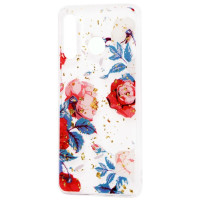 Силиконовый чехол Samsung A30 (красные цветы)