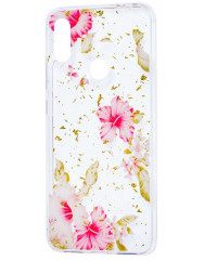 Силиконовый чехол Xiaomi Redmi Note 7 (розовые цветы)