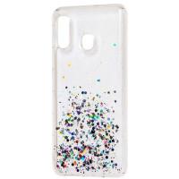 Чехол силиконовый блестки Samsung Galaxy A20/A30 (прозрачный)