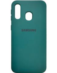 Чехол Silicone Case Samsung A40 (темно-зеленый)