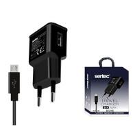 Сетевое зарядное устройство Sertec STC-H2 (2.1A) + кабель Micro USB (black)