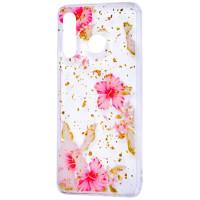Силиконовый чехол Samsung A20 / A30 (розовые цветы)