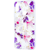 Силиконовый чехол Xiaomi Redmi Note 7 (фиолетовые цветы)