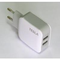 Сетевое зарядное устройство TESLA (2,4A) (белый)
