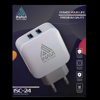 Зарядное устр (блок+шнур) INAVI (ISC-24) 2 USB 3.0 (белый)