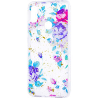 Силиконовый чехол Xiaomi Redmi Note 7 (синие цветы)