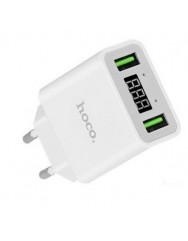Сетевое зарядное устройство Hoco C25A (2,2A) 2 USB with LED (белый)