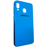 Чехол Glass Case Brand Samsung A40 (синий)
