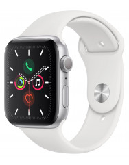 Apple Watch Series 5 44mm Silver Aluminum Case with White Sport Band (MWVD2)