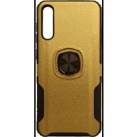 Чехол с кольцом техно кожа Samsung Galaxy A50 / A50s / A30s (золотой)