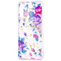 Силиконовый чехол Samsung A50 (синие цветы)