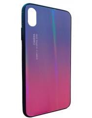 Чехол Glass Case Gradient iPhone XS Max (синий/розовый)