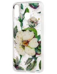 Силиконовый чехол Samsung M20 (зеленые цветы)