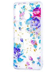 Силіконовий чохол Samsung A20 / A30 (сині квіти)