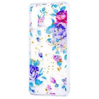 Силиконовый чехол Samsung A20 / A30 (синие цветы)