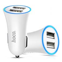 Автомобильное зарядное устройство + кабель Hoco UC204 2.4/2 USB (White)