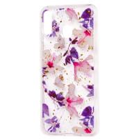 Силиконовый чехол Samsung M20 (фиолетовые цветы)