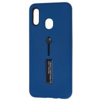 Чехол Samsung A20 / A30 с подставкой и держателем на палец (синий)