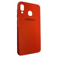 Чехол Glass Case Brand Samsung A40 (красный)