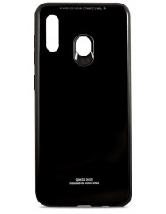 Чехол Glass Case Samsung Galaxy A40 (черный)